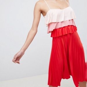 ASOS color block red and pink pleated midi dress